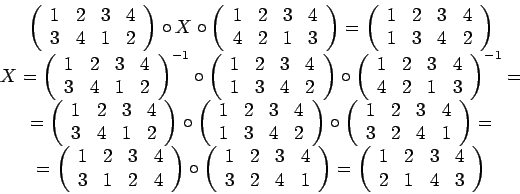 \begin{displaymath}\begin{array}{c}\left(\begin{array}{cccc}1 & 2 & 3 & 4......& 3 & 4\\2 & 1 & 4 & 3\end{array} \right)\par\end{array}\end{displaymath}